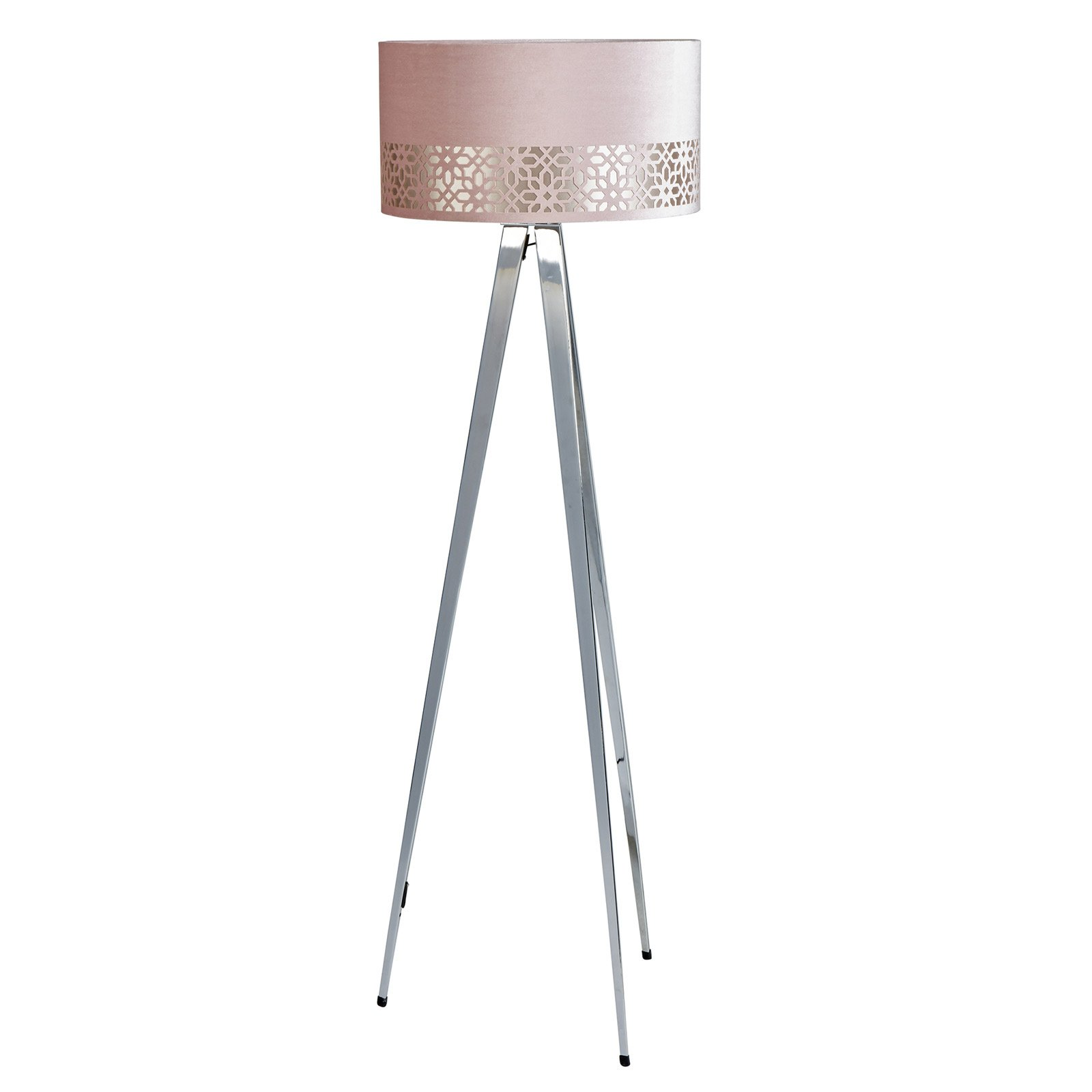 Casbar Chrome Floor Lamp And Pink Shade