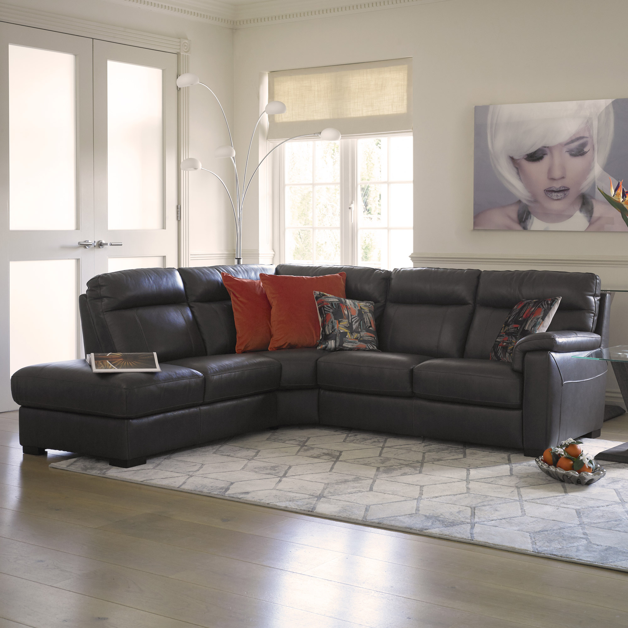 trentino grey leather corner sofa left