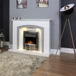 Estasi Ariston White Grey Marble Fireplace