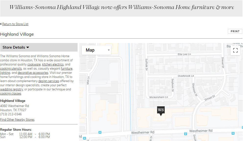 Willams Sonoma is open