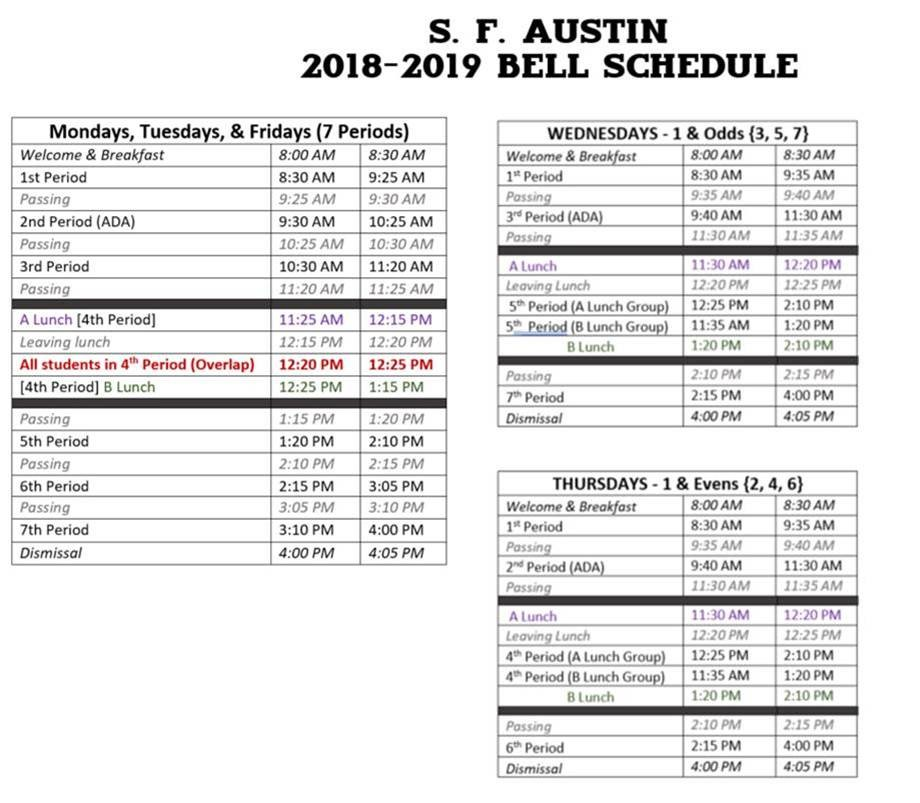 Student Resources / Austin Bell Schedule
