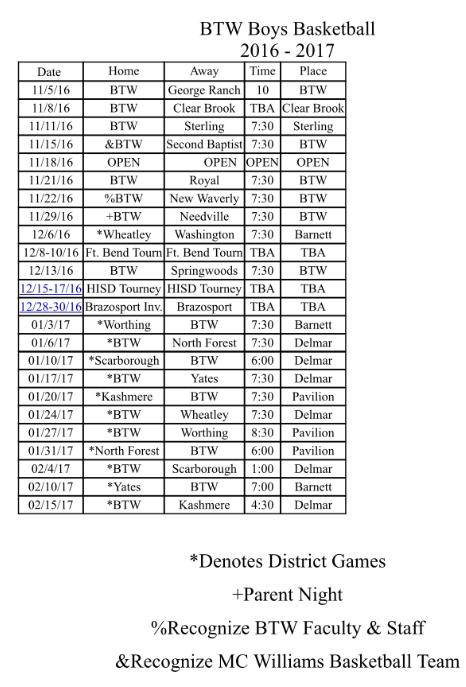 Boys Athletics / 2016/17 Basketball Schedule