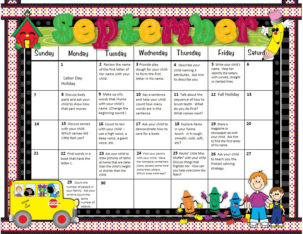 Pre Kindergarten Calendar