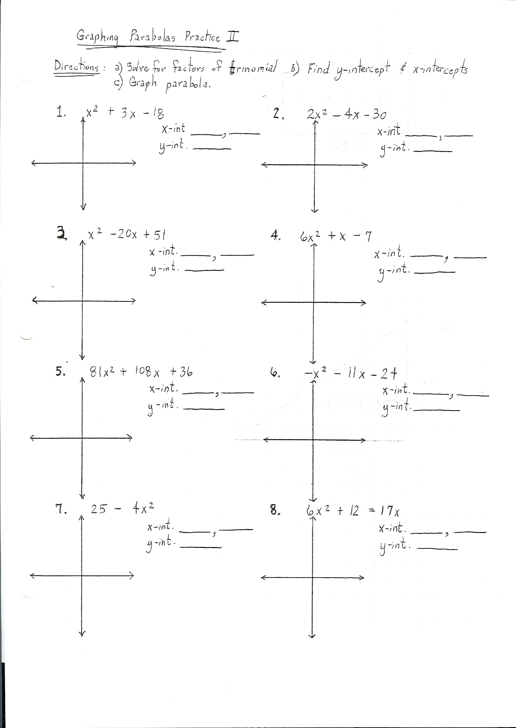 32 Algebra 2 Parabola Worksheet