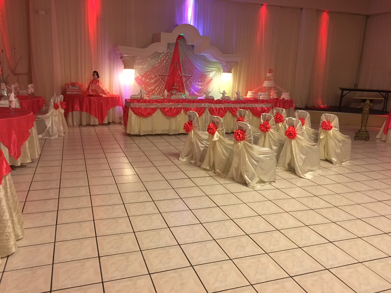 chairs for party hall full chair covers rose quinceanera and wedding receptions