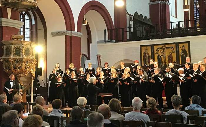 The Houston Symphony Chamber Chorus performs in the Brandenburg Dom.