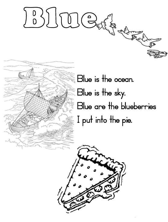 Color Blue Worksheets For Preschoolers