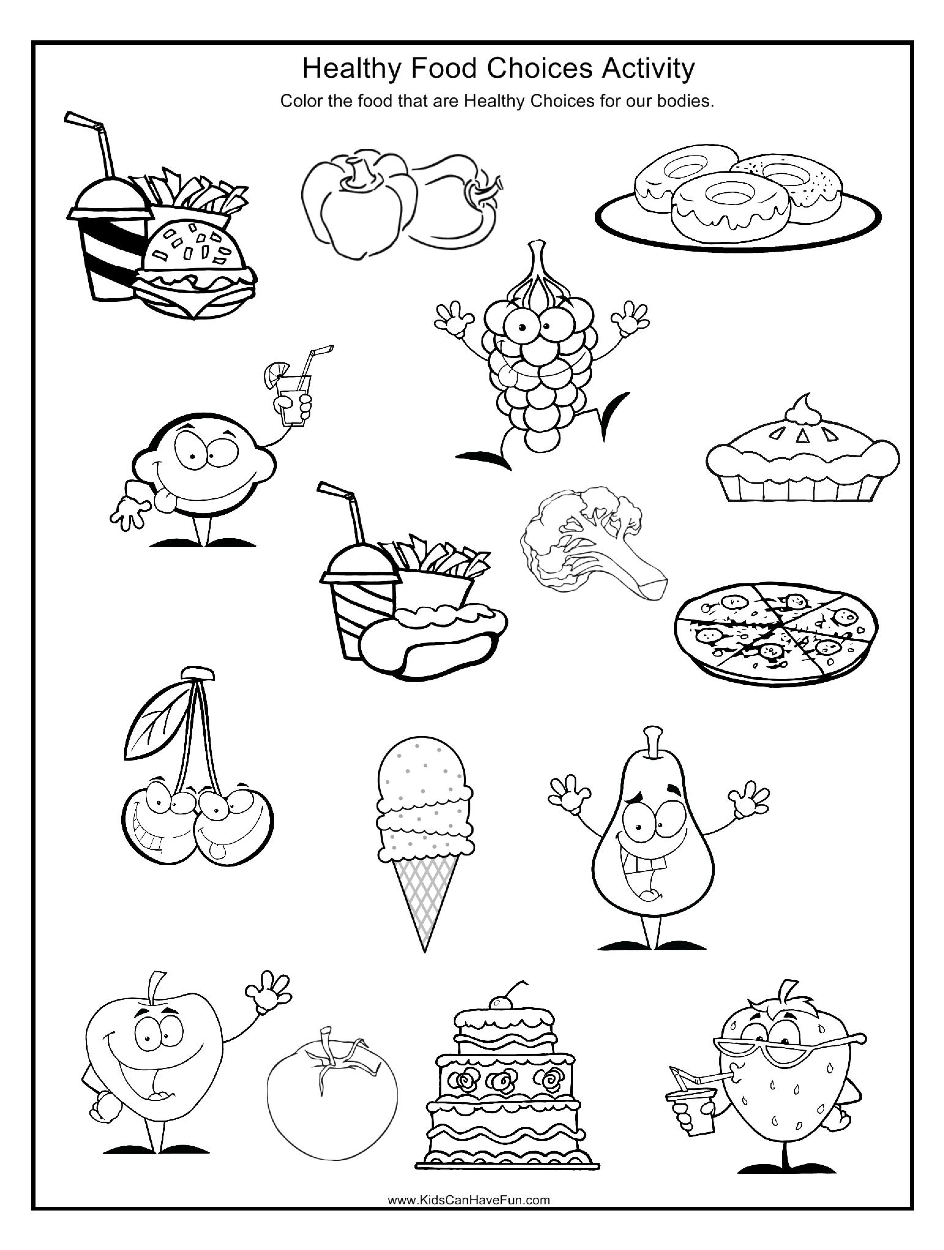 Kid Worksheet Healthy Food And Junk Food For Kindergarten