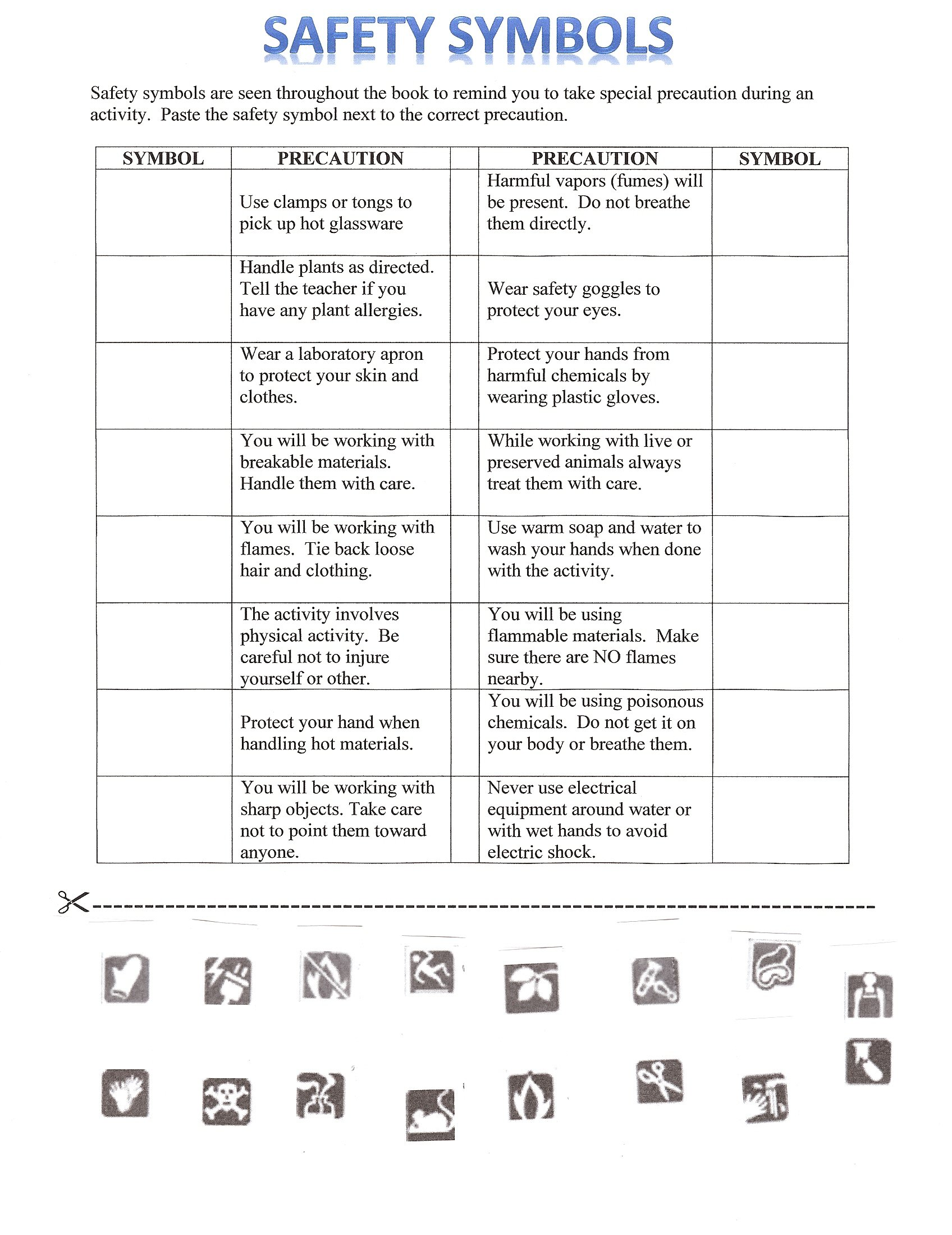 Lab Equipment Matching Worksheets