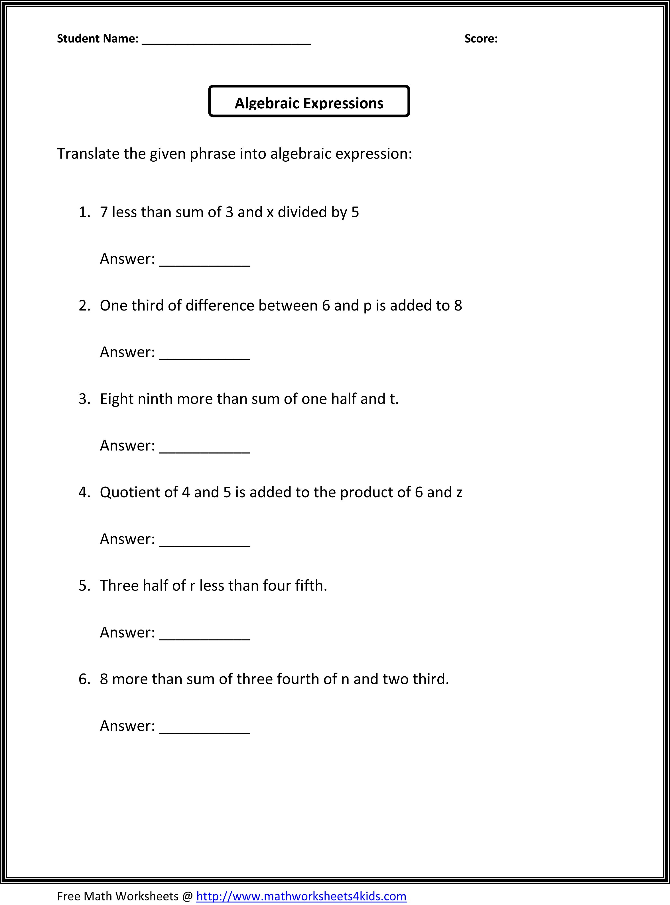 Algebraic Expressions 6th Grade Worksheets
