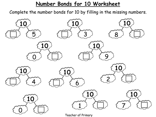 Free Printable Number Bonds Worksheets
