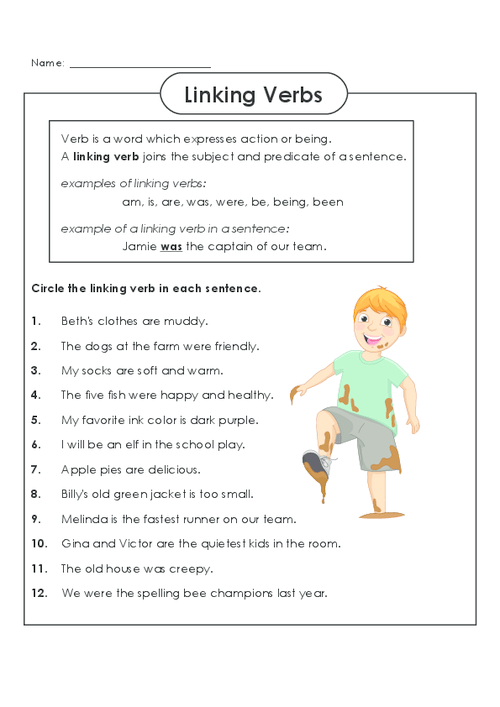 Action Verbs Worksheets 7th Grade