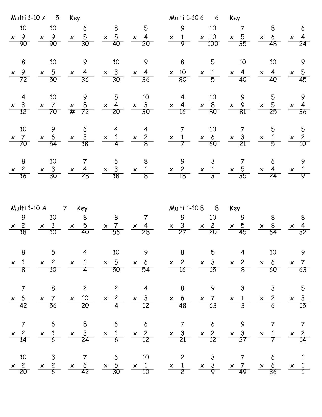 Printable Multiplication Worksheets Grade 5