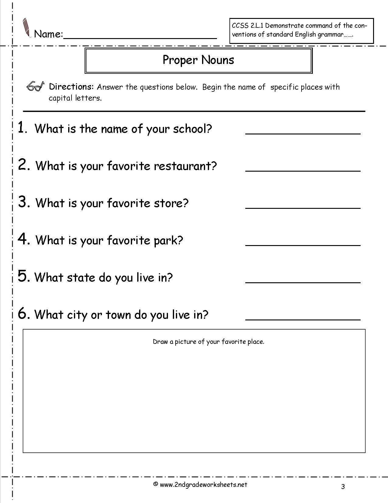 Proper Nouns Worksheet 2nd Grade Worksheets For All Free Worksheets Samples