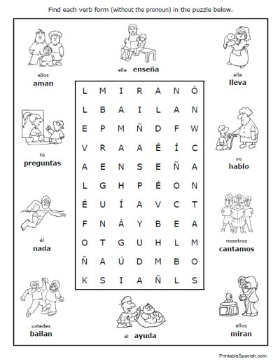 Spanish Regular Verbs 30 Page Worksheet Packet Spanish