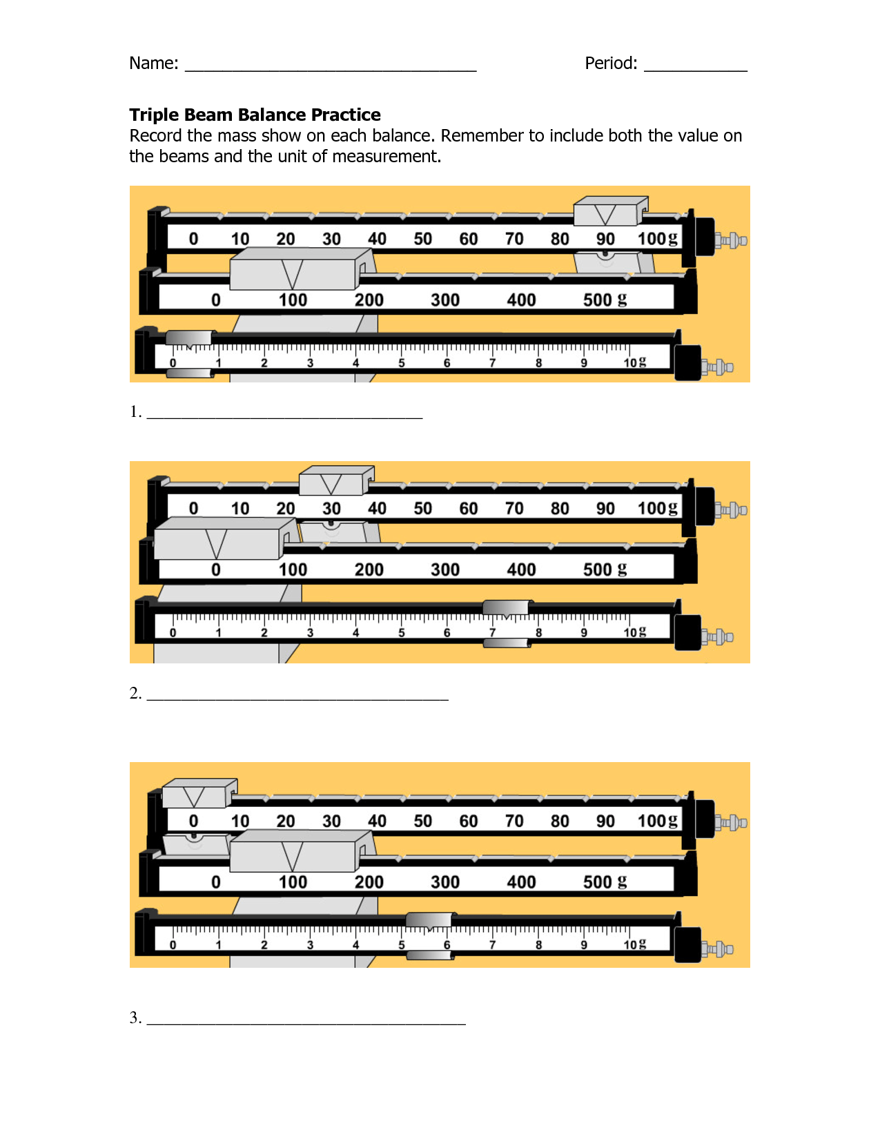 Reading A Triple Beam Balance Practice Worksheets