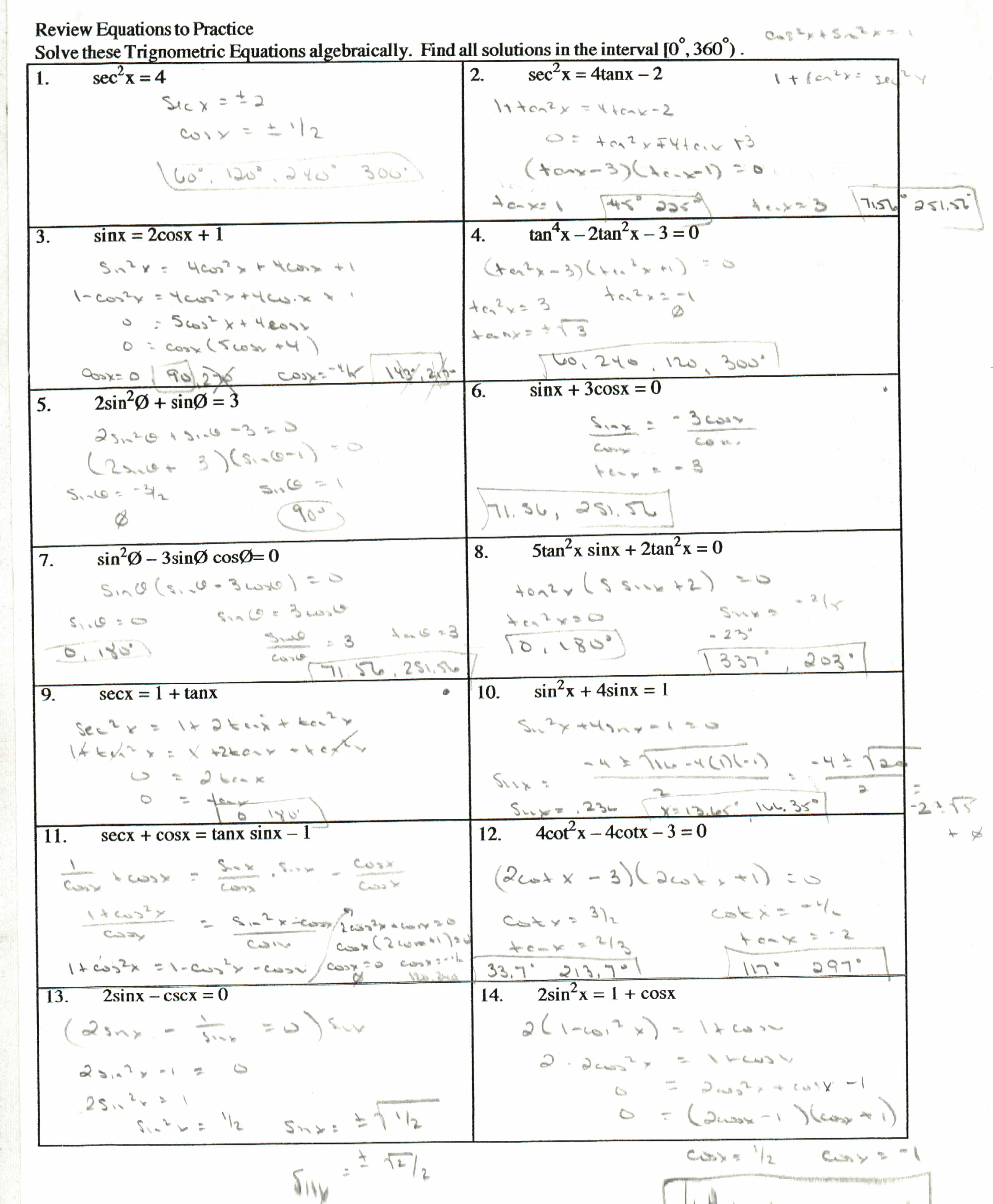 Trigonometric Identities Worksheets