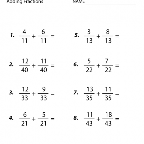 Fifth Grade Adding Fractions Worksheet 7th Math Practice