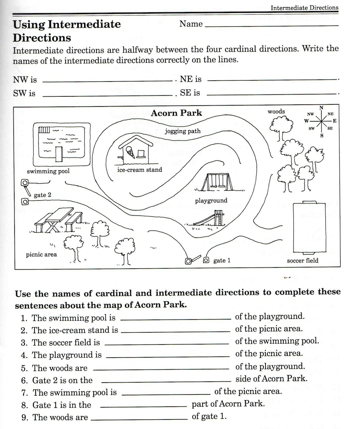 Intermediate Directions Worksheets