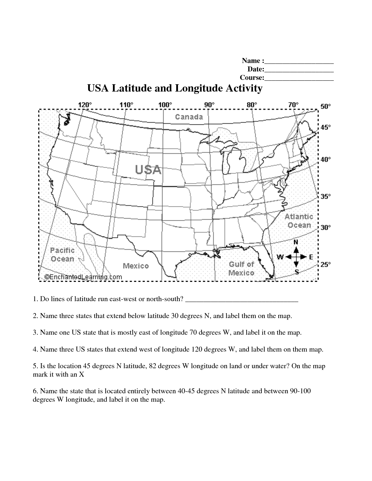Longitude And Latitude Printable Worksheets