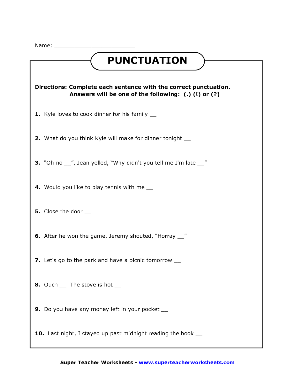 hight resolution of Fourth Grade Punctuation Worksheets   Printable Worksheets and Activities  for Teachers
