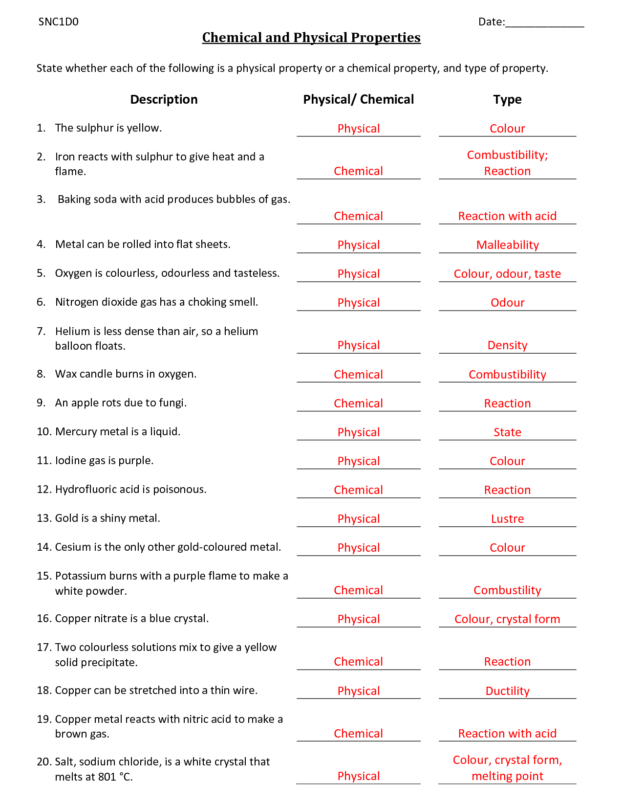 39 Physical And Chemical Properties And Changes Worksheet