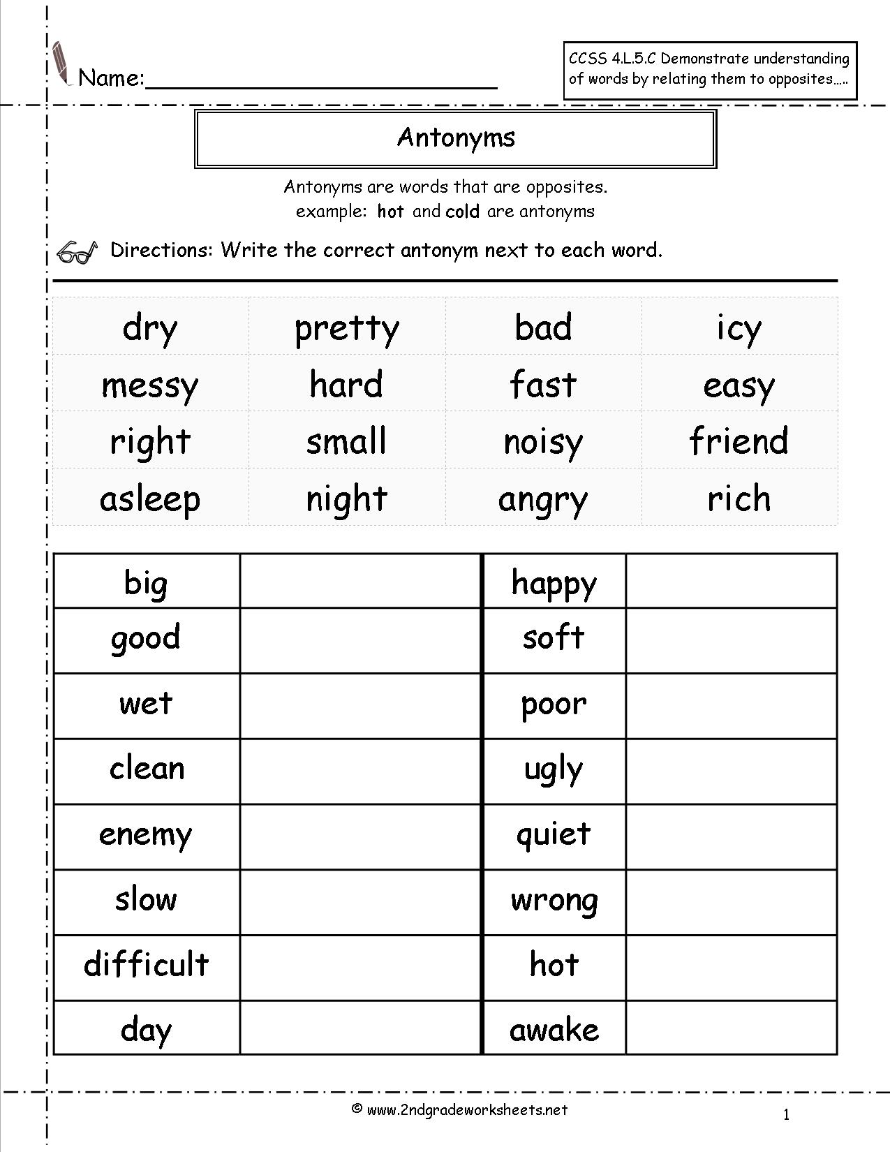 Synonym Worksheets For 2nd Grade