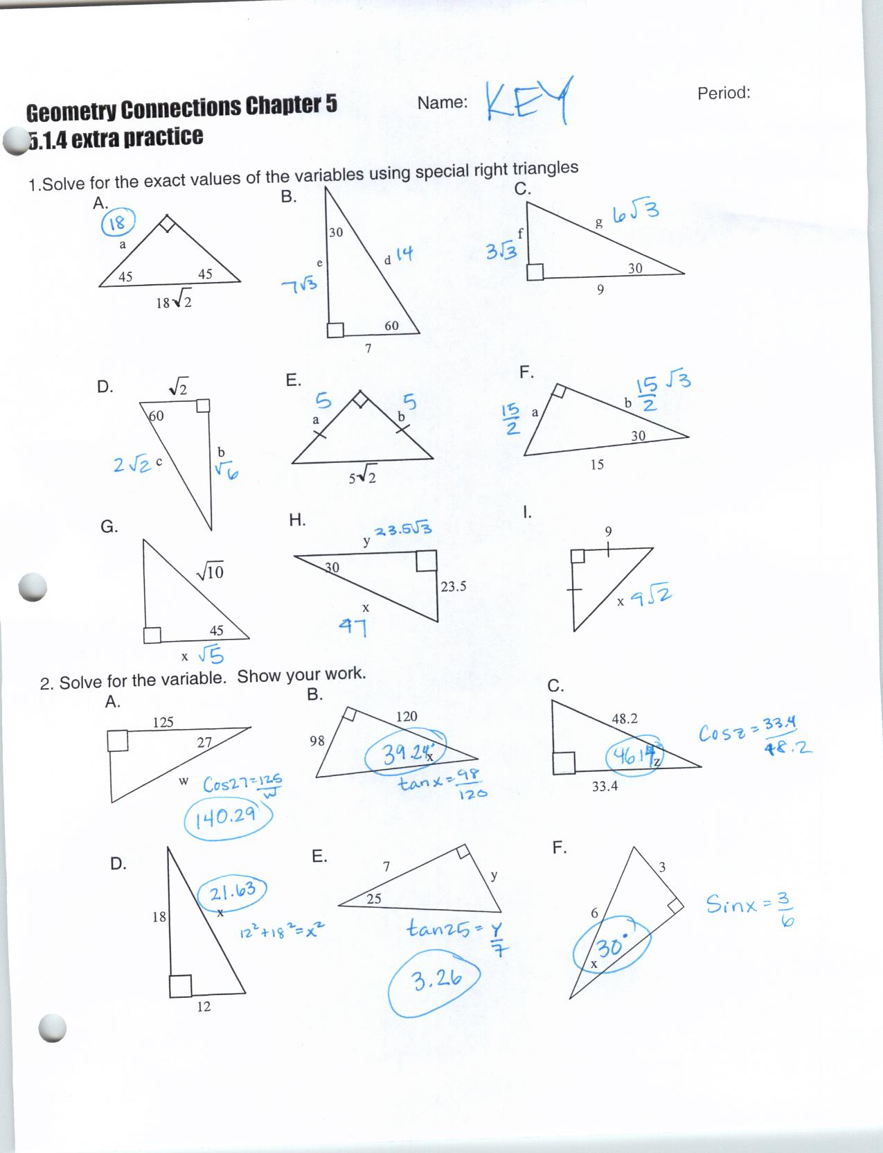 Geometry Special Right Triangles Worksheet Answers The
