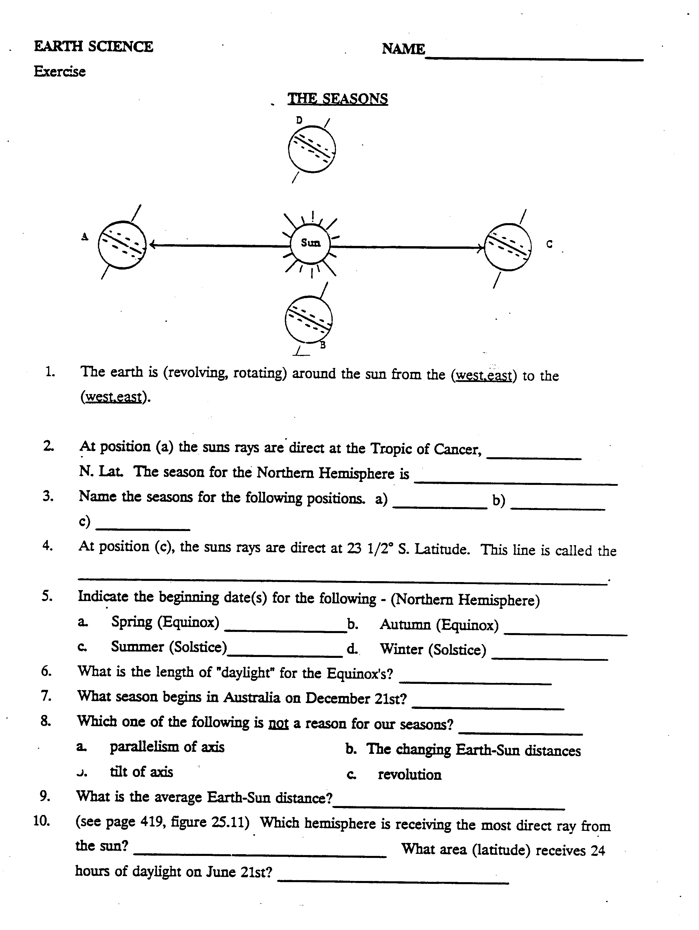 Earth S Seasons Worksheets