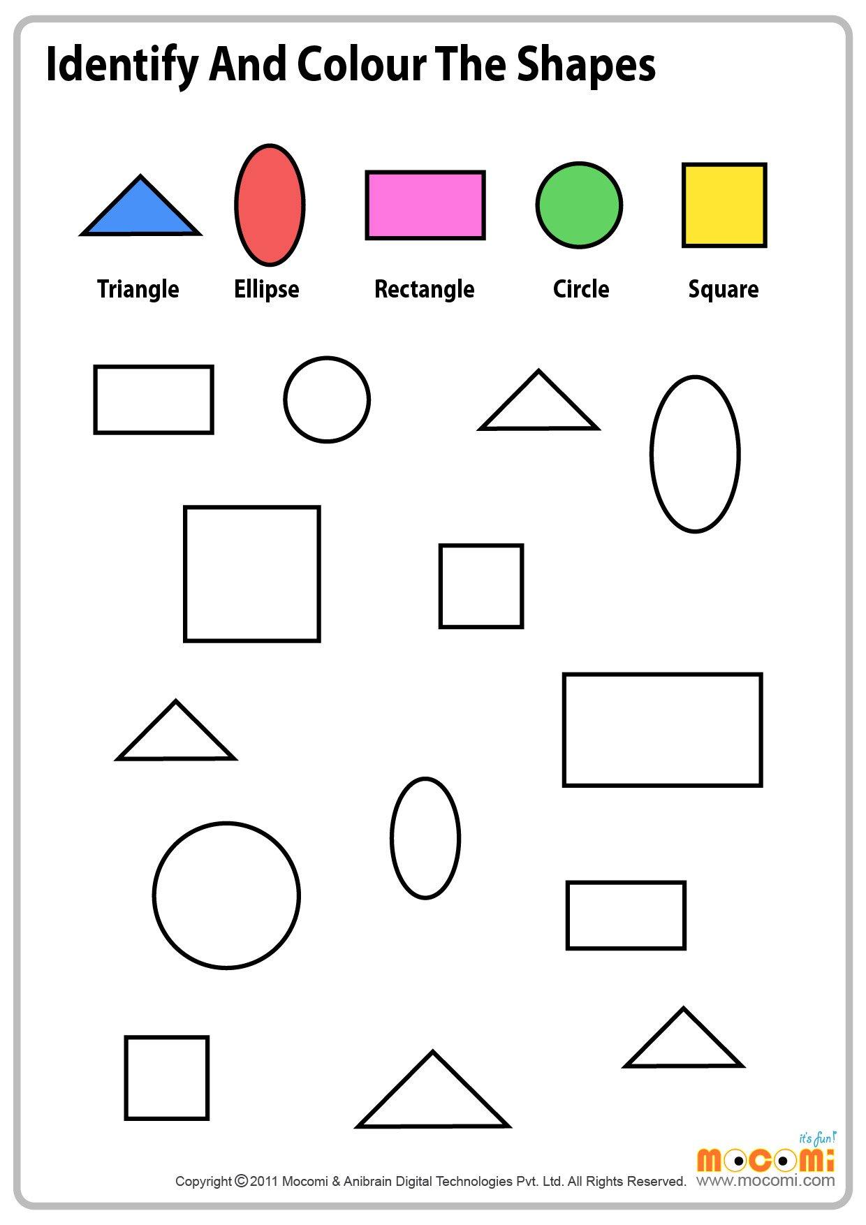 Preschool Color Shapes Worksheets Free Worksheets