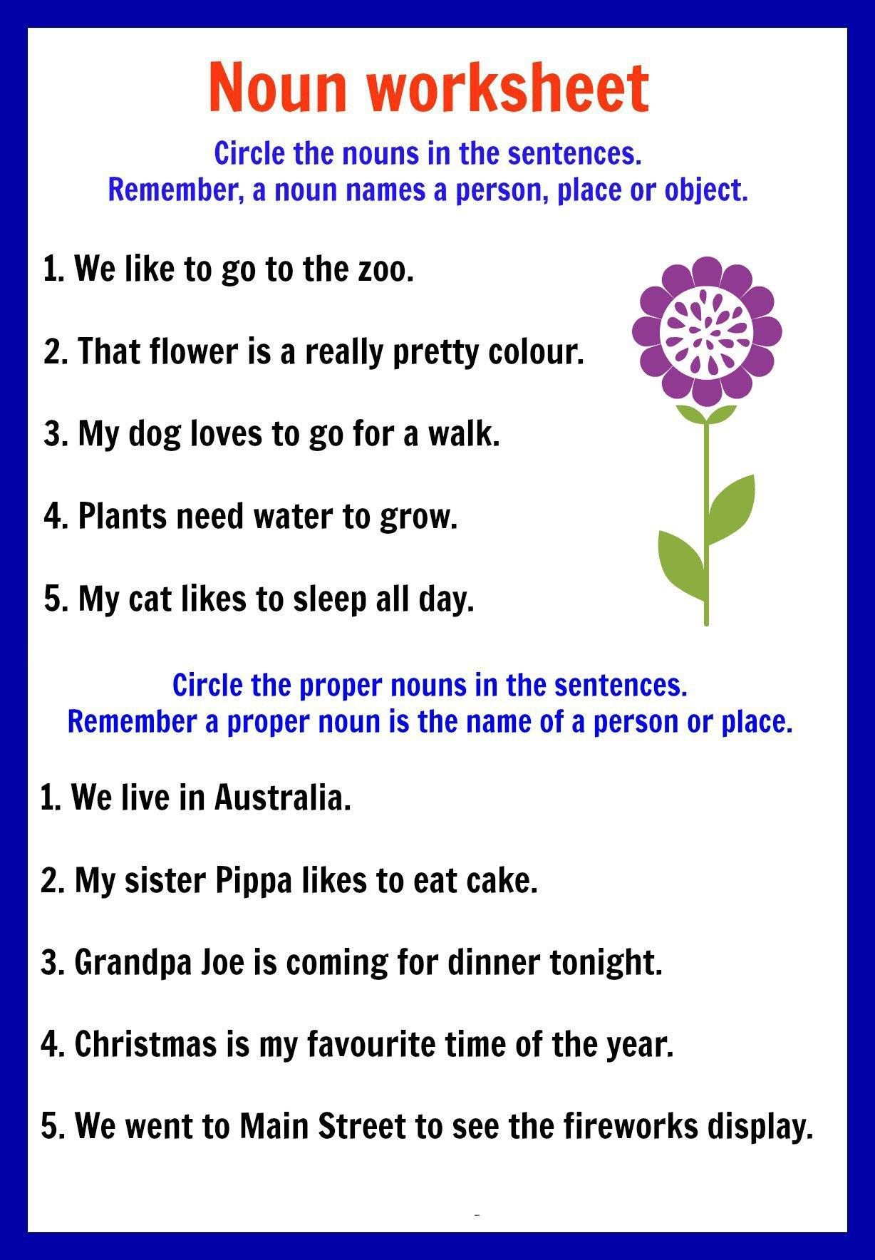 Proper Nouns Worksheets For Kindergarten