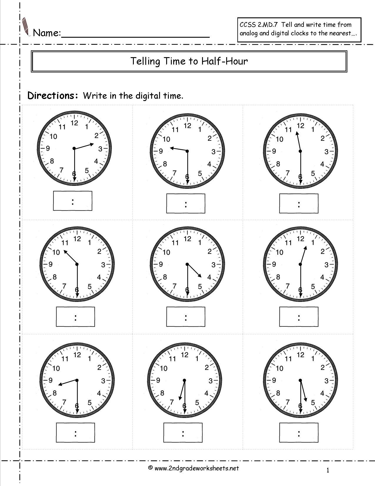 2nd Grade Time Worksheets