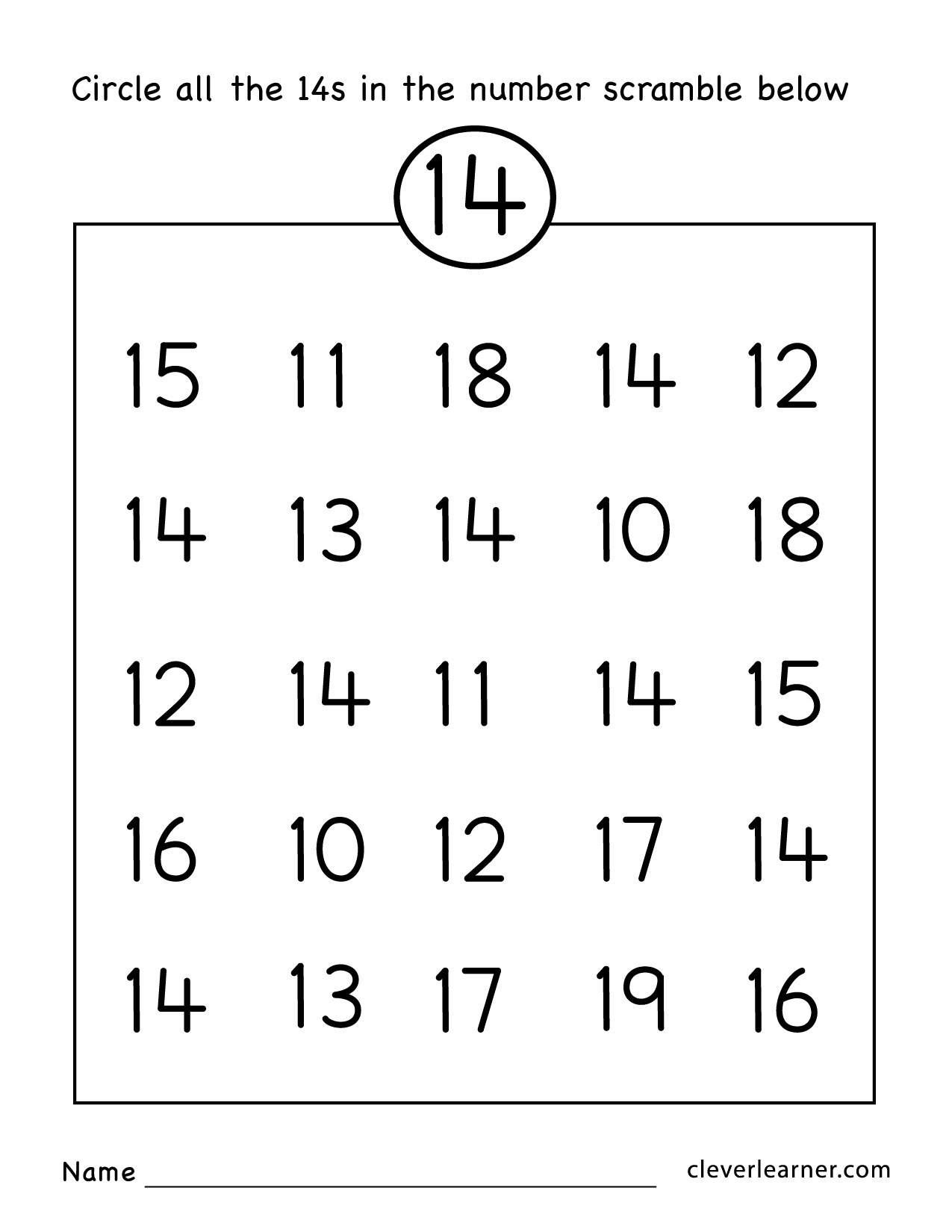 Number 14 Worksheets For Kindergarten