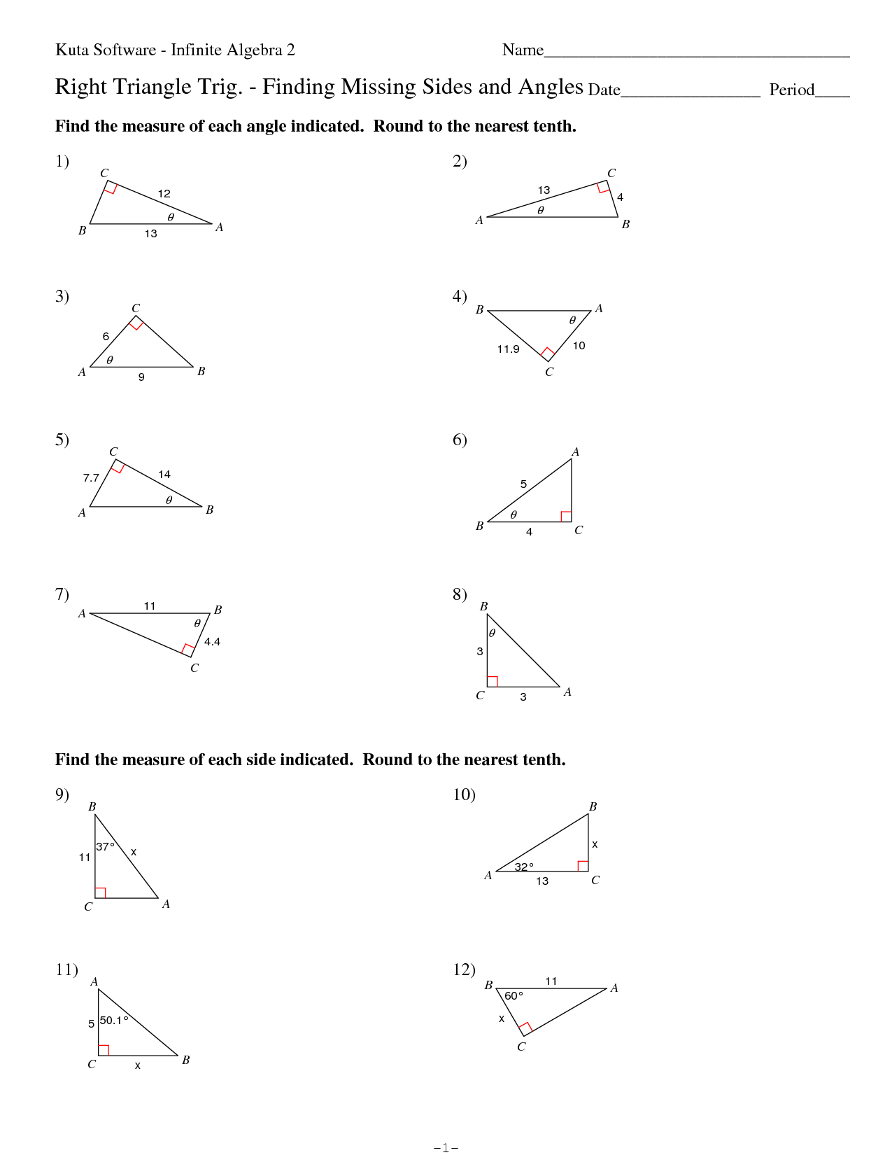 Right Triangle Trigonometry Worksheet Free