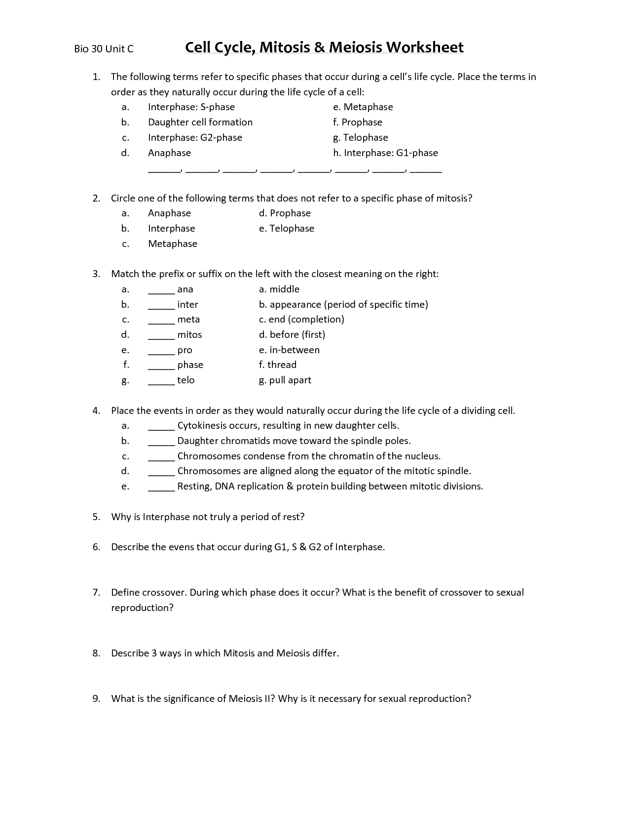 hight resolution of Cell Division Worksheet Pdf   Printable Worksheets and Activities for  Teachers