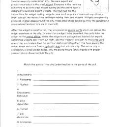 Cell City Widget Worksheet   Printable Worksheets and Activities for  Teachers [ 3508 x 2552 Pixel ]