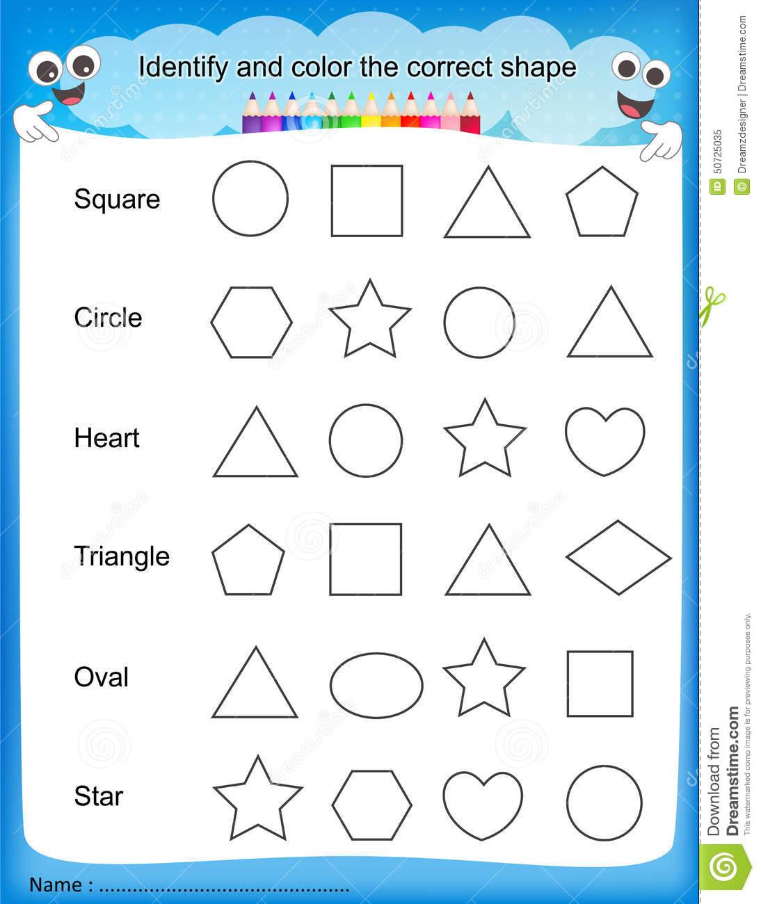 Shapes And Colors Worksheets For Kindergarten