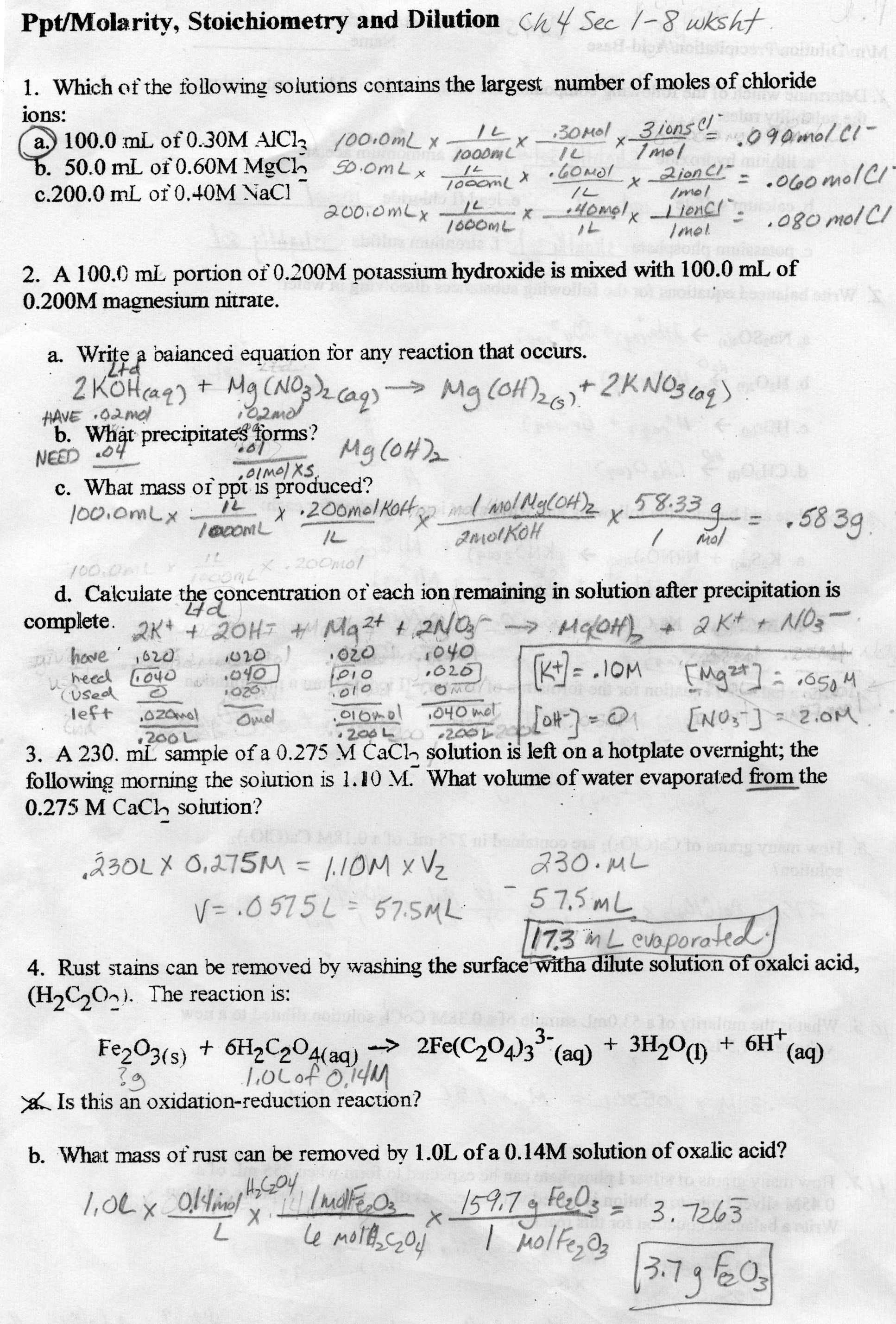 Chemical Equations And Stoichiometry Worksheets Answers