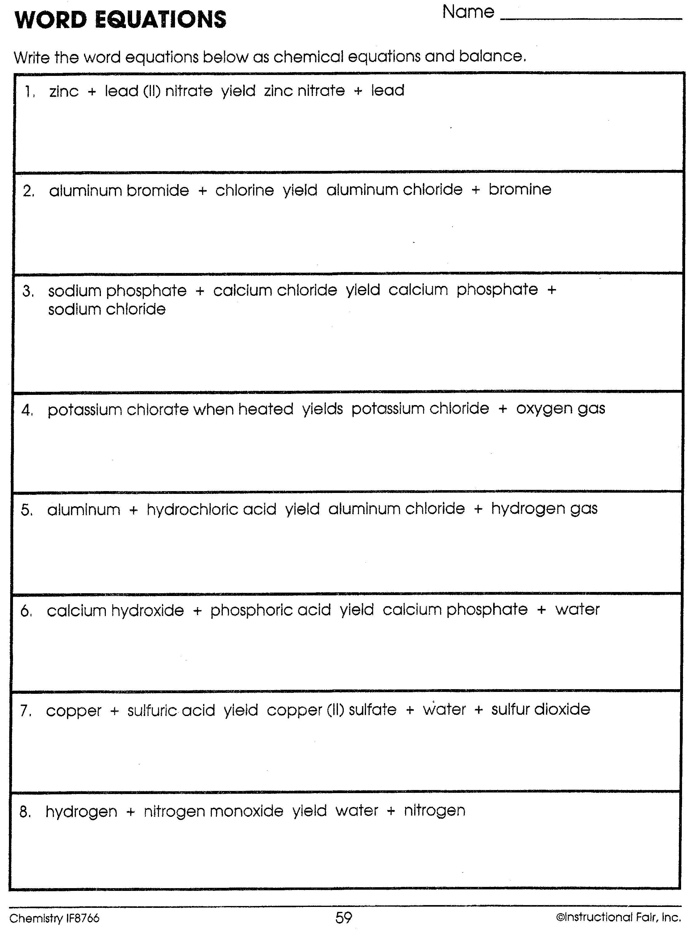 Balancing Word Equations Worksheets