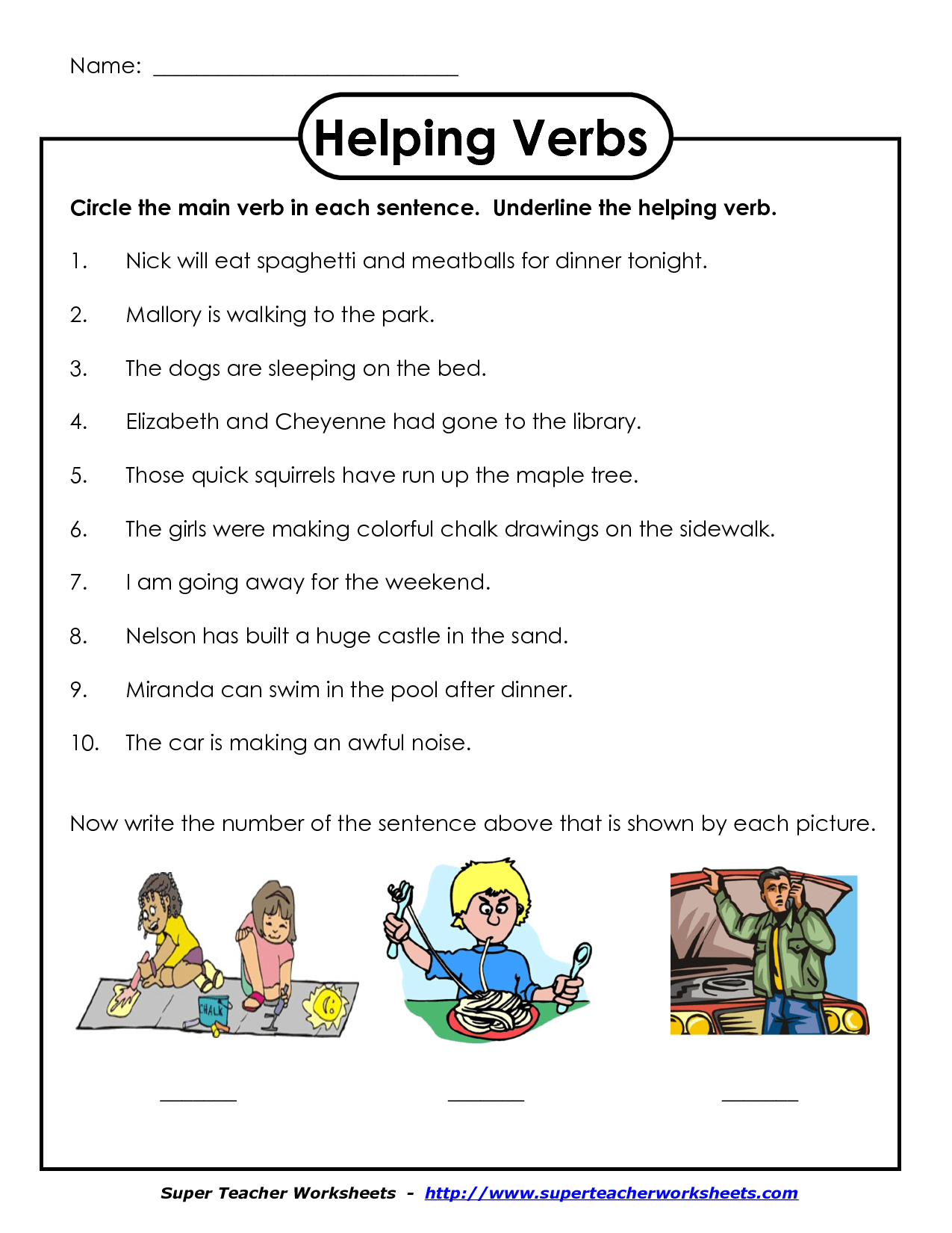 Helping Verb Worksheet First Grade Worksheets Drawing