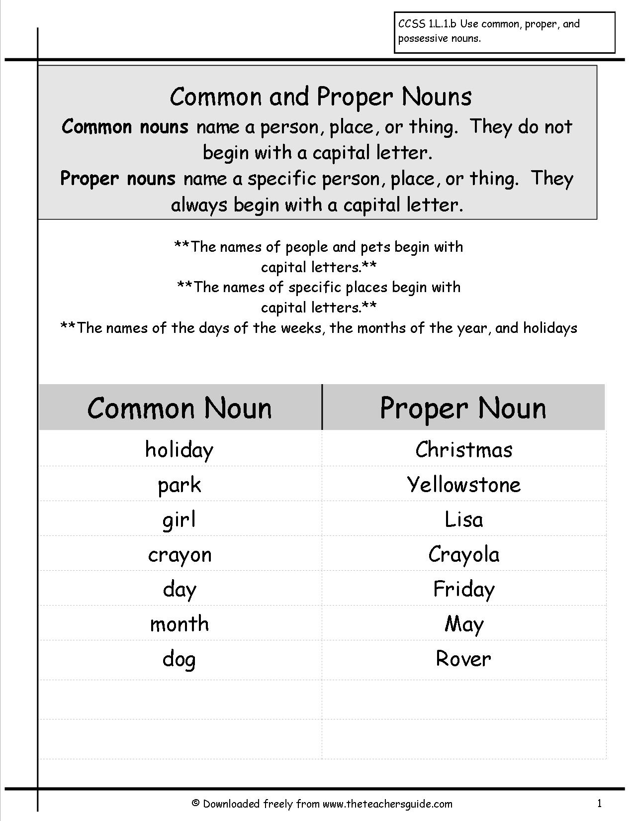 Proper Pronouns Free Worksheets Samples