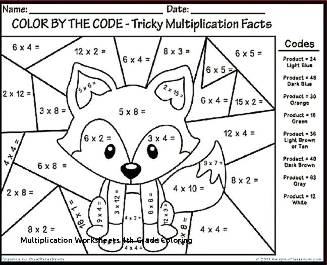 Multiplication Worksheets Grade Coloring Math Fun For 4 Of