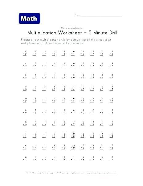 Problem Multiplication Timed Test 0 Problems A Worksheets
