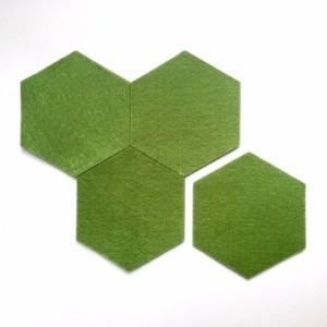 vilten onderzetters hexagon olijfgroen, handgemaakt van vilt, nooit meer kringen en krassen op tafel