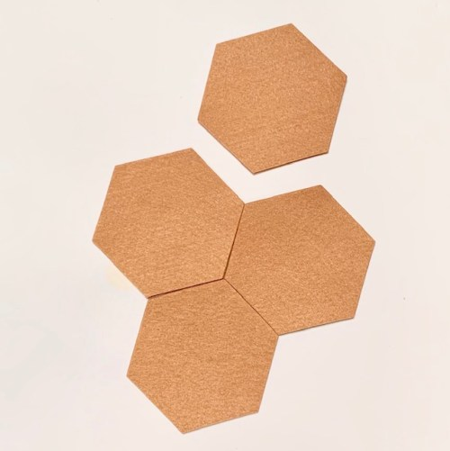 set vilten onderzetters hexagon camel