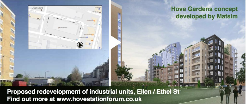 Before and after image of proposed redevelopment of industrial units, Ellen / Ethel St