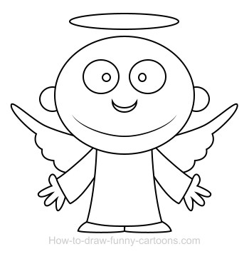 Drawing an angel cartoon