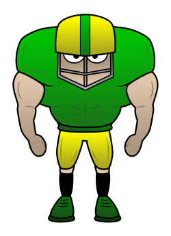 Drawing a cartoon football player