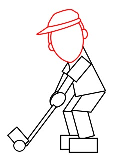 Drawing a cartoon golfer
