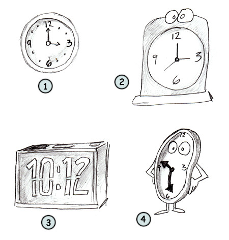 Drawing a cartoon clock
